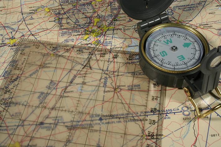 Lensatic Compass and Map